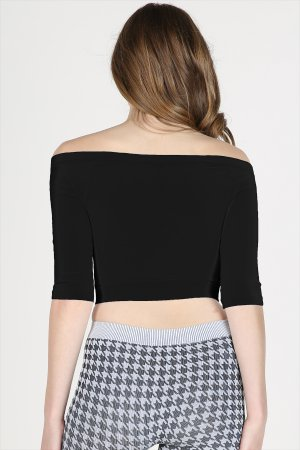 NS6386 Half Sleeve Off Shoulder Crop Top
